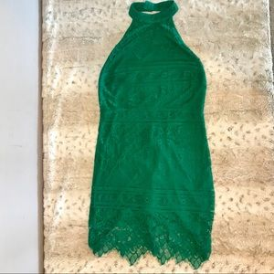🆕NWT Emerald Green Lace Halter Mini Dress M